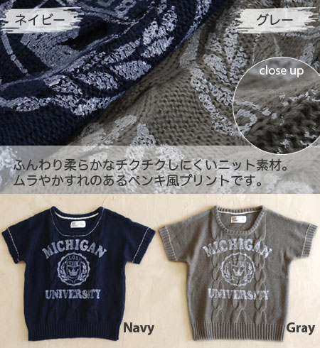 ON ♪ neck and the stitch of the cuffs are old clothes style preppy knitwears of the accent the paint-like college print which a dolman sleeve sweater of the cable knitting was able to graze! / pullover / vintage style / short sleeves / incompleteness sle
