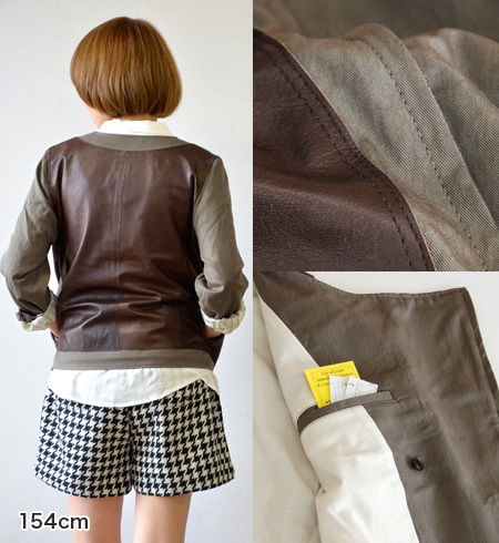 Compact color blouson to switch in different materials and leather became a luxury. Light wear perfect for seasons outerwear / ladies / spring jacket ◆ Davit MEURSAULT ( ダビットモルソー ): leather × ツイルノーカラーダブルライ jacket