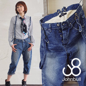 Johnbull three-quarter SUSPENDER WORK JEANS! Vintage early 1900's work pants with denim shorts • salad-style loose three-dimensional cutting tapered cotton ◆ Johnbull ( jumble ): サスペンダーワークデニムクロップド pants [AP030]
