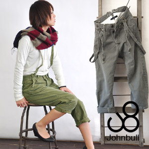 Odd length underwear with full of a feeling of vintage with work pants as a motif! ◆ Johnbull (John Bull) with sarouel pants-like sloppy draping tapered lady's cotton fashion suspender: Suspender work serge cropped pants [AP031]