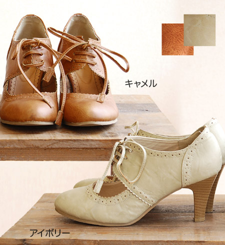 The Oxford booties pumps that it was elegant, and attractiveness and a quality of adult, a contradicting image fused in traditional fashion wonderfully! / high-heeled shoes / wing tip style / round toe / girly ◆ classical race up booties pumps attractive