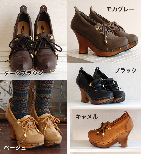 Leg beauty leg effect of preeminent feet heavy storm with thick bottom Bootie ♪ cute adult BBW pouty form a rounded a profound feeling of plenty of lovely ladies shoes / shoes / shoes / shoes / 10 cm high heels ◆ レースアッププラット pumps