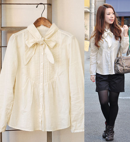 Of the 100-percent-cotton cloth such as worn-out gauze is moderate without being too sweet; is the cotton broadcloth stand collar pin-tuck shirt blouse with the activity / long sleeves puff sleeve /A line ◆ bow tie properly in various scenes such as the