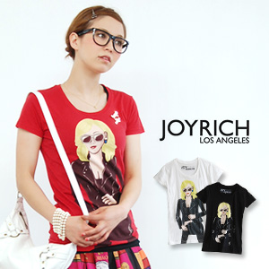 """JOYRICH blond little ワル here """"タフガール"""" depicted in the American comic touch T shirts! Like body lines answer the unique JoyTee! / Women 's/sewn ◆ JOY RICH ( Mickey Mouse No1 ) :Tough Girl Tee"""
