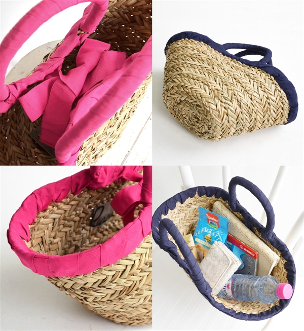 The basket bag which garnished an opening and shutting mouth and a steering wheel with the ribbon tape of the color. The natural material basket / bag / bag / bag /BAG/ handbag /fs3gm ◆ grosgrain ribbon piping basket bag which is recommended for a sea gl
