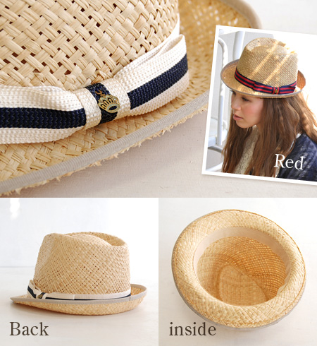 Swim caps & hats of season filled with light and durable shine stripe raffia Palm! Simple form can be worn every day: / natural material and paper Hat style/UV protection / UV protection ◆ ラフィアボウノットリボンパイピング Hat
