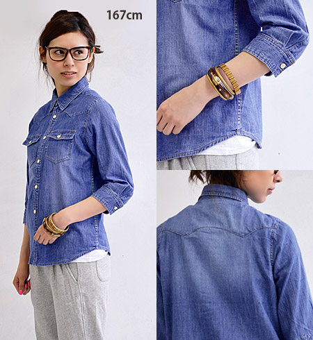 Denim shirt without the many mistakes ♪ casual code staple to the Cape without hesitation and accompany the products & sweet code: / thin / long sleeve women ◆ w closet ( ダブルクローゼット ): ライトデニム Western shirt