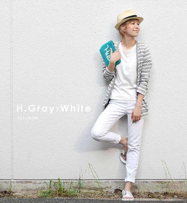 UV 99% cut! Ladies tops outer coat protection UPF 50 + thin white borders summer ◆ zootie : Barrier cool cotton UV cut Long Cardigan