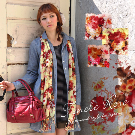 Good impressive color colours & grown-up atmosphere rose pattern light scarf! Terron and soft or gauze-like texture. In the UV and temperature measures. / shawl / rose / rose-patterned ◆ テネルローズレーヨン gauze scarf