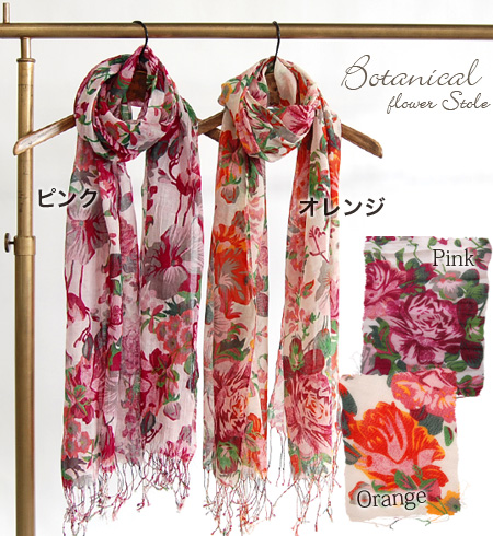 Popular large floral scarf appeared happy cotton material on your skin! Light shawls soft all season can be used in lighter rolls comfort • gently to the skin, in the midsummer UV UV protection recommended ◆ ボタニカルフラワーコットン gauze scarf