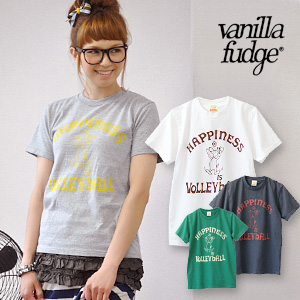 One happy camper, a volleyball Chan ♪ dogs like San also recommended Short Sleeve Tee ♪ big number logo on the back! Compact size ladies cut & sew / canine / dog ◆ vanilla fudge ( vanilla fudge where ) :VOLLEYBALL DOG T shirt