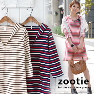 The mood for France! Cute adult as the new standard proposed to the marine border pattern Basque T シャツワンピース / tunics / sewn / cotton / cotton 100% / tricolor / odd sleeves /Border pullover ◆ Zootie ( ズーティー ): フレンチボーダーセーラーワン piece