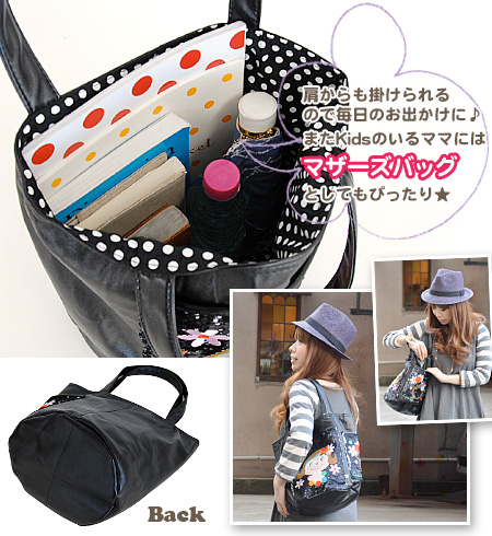 """A soft fake leather brief case of the shiningly ♪"""" FLOWER MONIQUE with spangles pocket! /Tender ☆ Big tote spangles bag ◆ Curly Collection (Carly collection): Spangles pocket ten da bucket tote bag [black X フラワーモニーク]"""