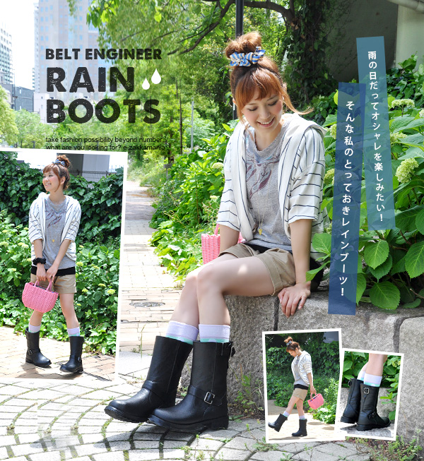 The rain boots Engineer size rain goods ◆ belt rain boots which looks like real engineer boots, and, in fact, is big in the rain boots Lady's shoes opera pump rain shoes short pullover boots rainy season