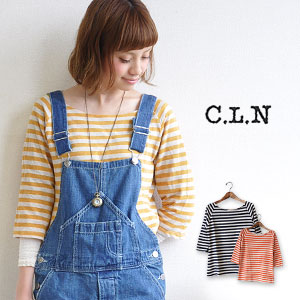 The variety of colors & exquisite pace which gentle horizontal stripe Ron Tee ◎ made of comfortable thin cotton knit materials is cute, and is bright is attractive! For / basque style /7 sleeve ◆ C.L.N (sea L N): Flakes horizontal stripe three-quarte