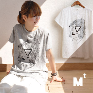 I love you in the back of the オシャレメガネ gleaming sur DE cool printed Tee! / pop / Fannie / women's / cotton 100% humor / short sleeve sewn / illustrations / oversized / handwriting / a line ◆ Mt ( Mt ) :glasses lady? Face print t-shirt