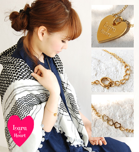 Lara & Hart logo a strained heart discreetly on your wrist! Her gold-colored Bracelet! Cute cute perfect ladies heart chain ◆ &Heart Lara (Lara and heart): heart plate bracelet