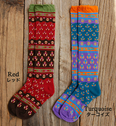 """The socks of Indian traditional """"バグル pattern"""" to let a step create gaiety with the atmosphere that is ethnic. There is little feeling of arrival at just ♪ pressure in OUTDOOR-style by various colors and the horizontal stripe change of the desig"""