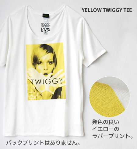 Twiggy printed with yellow is unbearable and is pretty! Photoprint short sleeves Tee excellent at an impact! White cut-and-sew No1 which I greatly keep an opened neckline alive and wear it cool, and wants to do heavy rotation in こなしましょ ♪ this year! / Lad