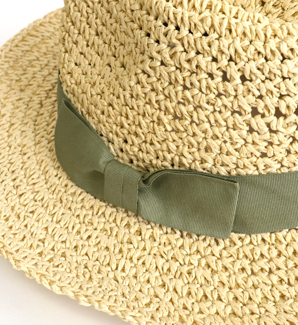 A trendy feeling improves in longish プリム! ◆ grosgrain ribbon knitting by hand paper soft felt hat hat broad-brimmed in paper material にりぼんをあしらった soft cap Lady's sunburn prevention straw hat style ultraviolet rays measures UV measures straw hat style sali