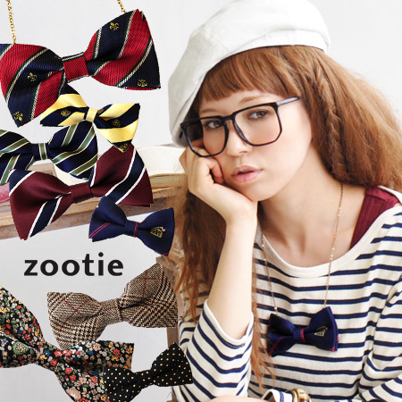 Our original! Contact rush トラッドボウタイネックレス NEW color arrives! / Bow tie / bow / Ribbon / adjuster chain / pendant / animal pattern and flower pattern / necklace / preppy ◆ Zootie ( ズーティー ) ボウタイネックレス [L]