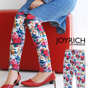 """Whole pattern spats using the textile """"rosette"""" of the fascination to create classical を loudly! For cut-and-sew cloth leggings / size floral design /10 which is usable in all seasons length / ten minutes length /JOY-F1136PT ◆ JOY RICH (Joey Ri"""
