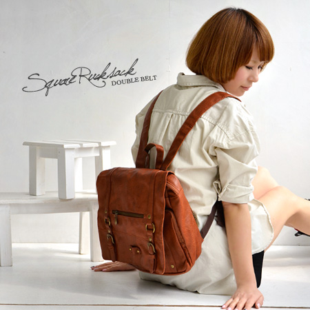 The most popular bag to backpack! Large BAG A4 magazines, papers, etc. also supply a rich Pocket! IC card regular Pocket travelers and commuters with leather / faux leather ◆ ベルトフラップスクエアリュック suck