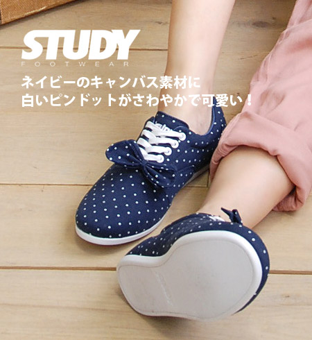 Brand NEW buzz 'STUDY' original JDM sneaker! Simple, light Oxford sneakers plus ribbons, etc. based on dot drop / polka dot pattern and Navy ◆ STUDY ( study ): DOT DROP [NAVY/WHITE]