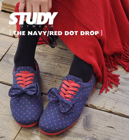 Navy blue x topics painted red dot NEW brand 'STUDY' low-cut sneakers! Oxford sneakers plus ribbons, etc. based on dot drop / Navy / polka-dot pattern ◆ STUDY ( study ): DOT DROP [NAVY/RED]