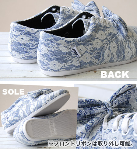 """Total race low-frequency cut sneakers of NEW brand """"STUDY"""" of the topic! """"The dope bow tie"""" / floral design white race ◆ STUDY (study) which added ribbon to a base with simple, light Oxford sneakers: THE DOPE BOW [WHITE LACE]"""