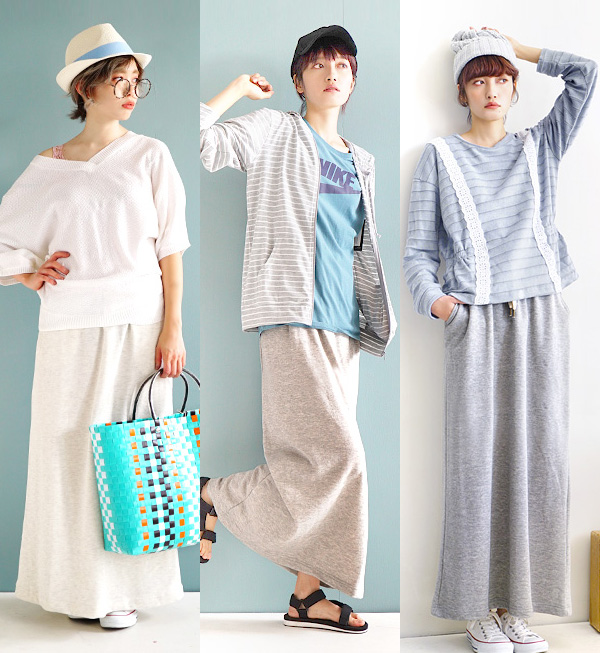 A simple maxi length skirt to give life to the fleece pile subject matter of the expression that is full of sweat shirt maxi /. Spring and summer ◆ あらびき sweat shirt maxi relaxedly easy lady's bottoms long skirt long length waist rubber plain fabric sunbu