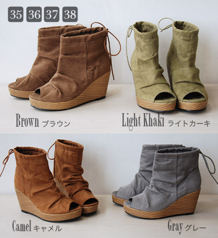 Thick-soled booties ♪ / platform / ankle length / shortstop length / shoes / shoes / shoes / shoes / shoes / 合皮 /8cm high-heeled shoes ◆ Zootie (zoo tea) with the ribbon string which it is refined, and a girly can wear: クシュクシュウェッジソールオープントゥショートブーツ [suede