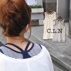 The wearing clothes one over another of the horizontal stripe X plain fabric is one piece of this! Long tank top / inner for Y background / casual / natural ◆ C.L.N (sea L N) who stacked a braid halterneck camisole: Horizontal stripe X plane braid fake l