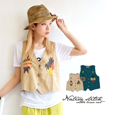 Short best cross stitch a colorful shine, too ethnic! Spring summer big success in cotton and linen material with a Slavic sense of expressive! / There / short-length / embroidery / layering / coat / ladies ' ◆ オルテガクロスステッチ compact best