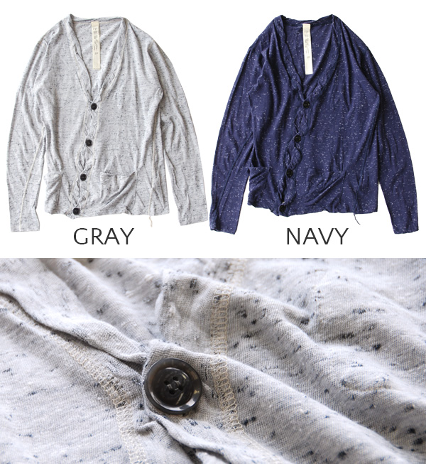 V ネックカーデガン with sweet crocheted fabrics 'Heather' designs stand out. Cape shine left a twisted bodice and stitch sink design detail ◆ FOUND GARMENTS ( ファウンドガーメンツ ) Marbury Cardigan [men's]