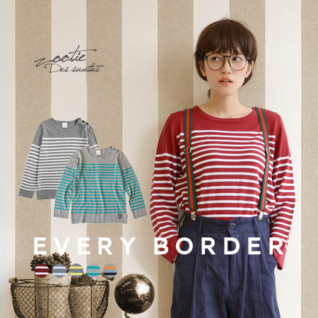 パネルボーダー pattern emblem button cute thin knitted sweater! Winter マリンニットウエア pullover wears, in the バスクシャツ sense ◆ Zootie ( ズーティー ) :EVERY ボーダーエンブレムボタンニットカットソー