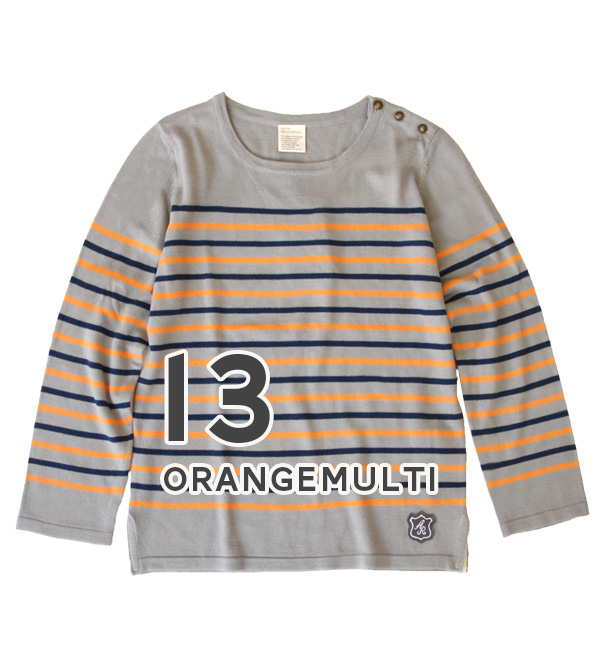 M/L. The thin panel horizontal stripes sweater which an emblem button has a cute! Lady's tops summer ◆ zootie (zoo tea): EVERY horizontal stripe emblem button knit cut-and-sew