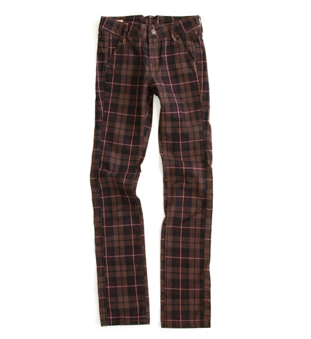 Full-length stretch pants /10 share length / ten minutes length / レギパン ◆ Betty Smith (Betty Smith) which the brown tartan checked pattern of the color became cute ♪ Shin pull design in the fall and winter, and became affordable: Light work brownie check