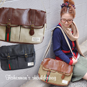 Canvas fabric with Trad lines × Messenger bag faux leather MIX different materials! As for also comfortable commute to school BAG / satchel bags & bags for ◆ リボンラインフィッシャーマンズスクエアショルダー bag