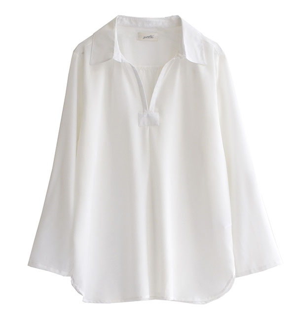 Become calm, and a shirt becomes calm a skipper shirt; blouse long shirt Lady's tops blouse tunic white shirt long long Japanese paper sleeve V neck spacious thin ◆ zootie (zoo tea): オードレスキッパーシャツチュニック