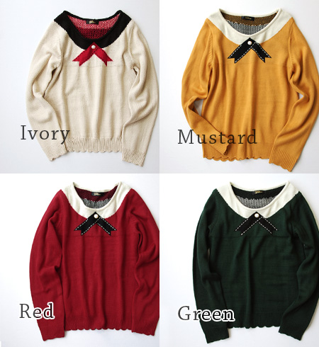 Trick of the wind round collar shirt and wearing picture ニットソー. I want using adult codes neckline golfers: knitwear / women's / long sleeves and round neck ◆ レトロリボンブラウストロンプルイユジャガード knit sweater