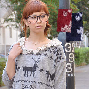 Paint printed with reindeer and snowflake pattern painted on front, and thin sweater with lace hem Nakai / snow patterns / snow Crystal / knitwear / women's / フェイクレイヤード / 7 / sleeves / / 7 sleeves ◆ スカラップコットンレースノルディック knitted apparel