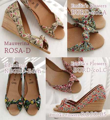 """Open toe wedge pumps / import ◆ marta by GAIMO (マルタバイガイモ) representing the beautiful curve that designed upper in """"genuine floral design"""" of Liberty company: NAZARET-L liberty flower ribbon Wood wedge sole pumps << outlet article >>"""