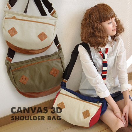 Also have Messenger Messenger bag like kawaii, vertical, side, and back to plenty of solid body making the canvas wind bag. With out mouth with two easy to zip utilities ◎ / men's / women's / bag / cotton ◆ special! 3D canvas shoulder bag