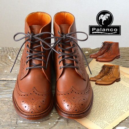 7 hall short length boots which a medallion tip displays a tiptoe. ◎ genuine leather shoes soft leather cowhide rial leather shoes import leather ◆ Palanco (パランコ) wing tip race up bootie air permeable by the Goodyear welt manufacturing method