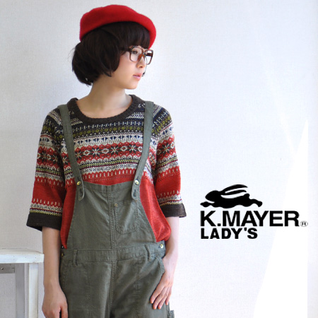Comfortably loose but cute, KRIFFMAYER fair Isle pattern sweater! / wool mix / border / pullover / raglan sleeves and v-sleeves and 5 minutes / sleeve sheer ◆ KRIFF MAYER ( cliffmeyer ): フェアアイルボーダーラグラン knitted apparel