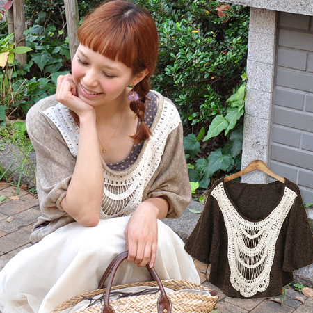 Decorate the big race is a delicate chest ライトニット clothing. Large deformation Dolman drew a circle of so-called silhouette plain and neat Chateau / sweater / women ◆ ☆ sale ☆ ハープレースドルマンニットソープル over