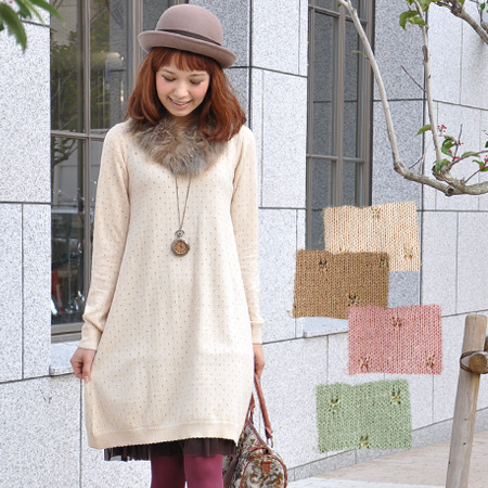 Shining lame thread eyelet polka dot knit one-piece ♪ point was slightly scalloped neckline, cuffs and hem! And knee-length and knee-length みずたま pattern polka-dot pattern / long sleeve / Angora Blend ◆ パンチングドットスカラップニットワン piece