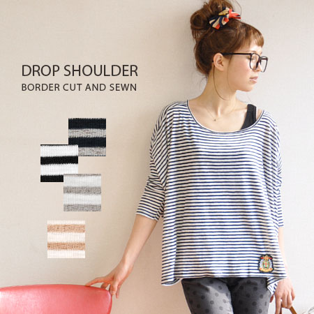 Fine pitch fresh border pattern and deformation v problem is a distinctive loose tops. Sharp 着痩せ effect of deformation Dolman style silhouette! / long sleeve / ladies ◆ ムジカボーダーモモンガカットソー