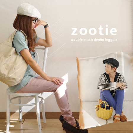 Authentic Cara pants design packed with playful personalities sect denims! Boasting excellent stretch and color stitching ♪ we オリジナルスキニーデニムスパッツ / パギンス / レギパン ◆ Zootie ( ズーティー ): ダブルステッチカラーデニムレギンス